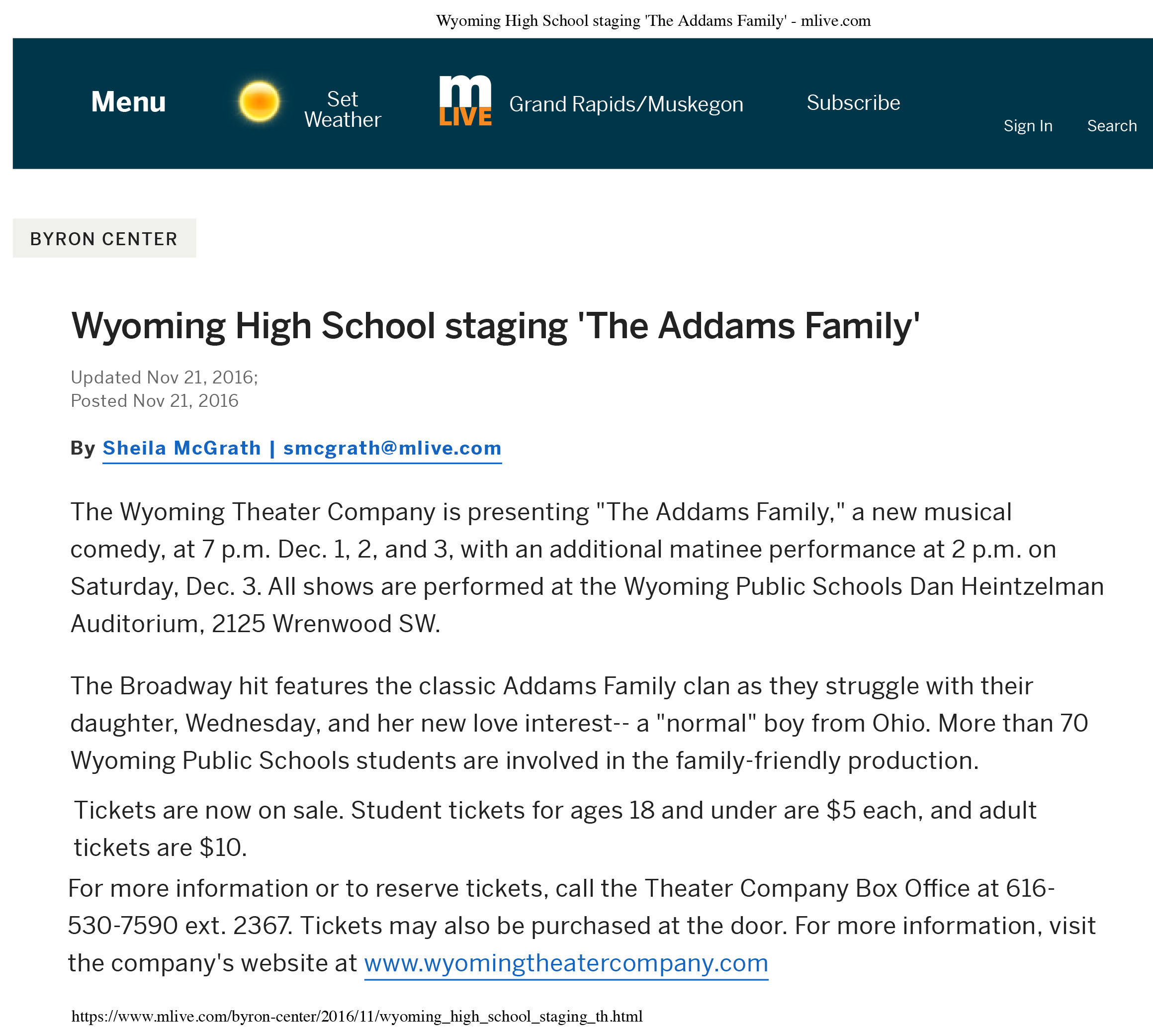 addams family mlive article