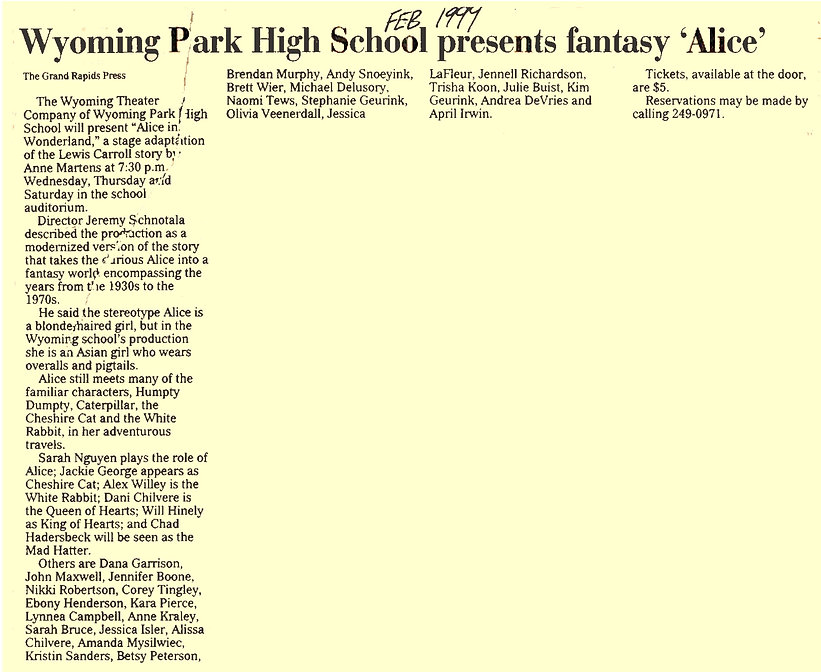 Wyoming Park High School Alice in Wonderland 1999