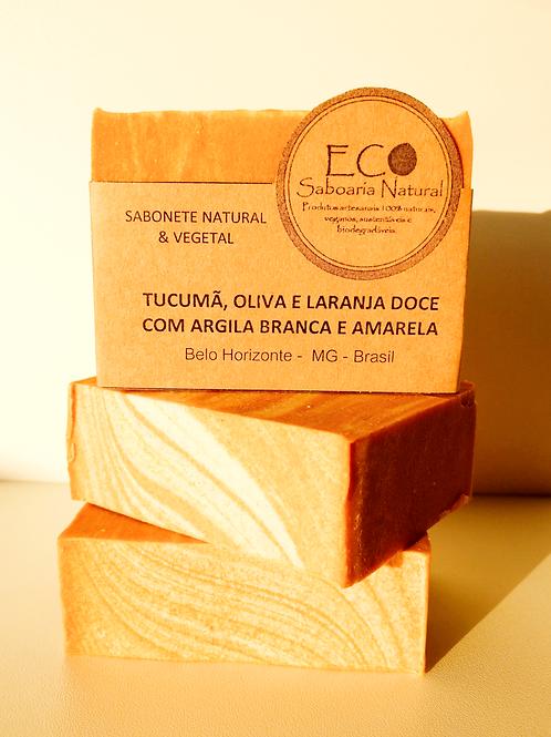 SABONETE DE TUCUMÃ, OLIVA E LARANJA DOCE COM ARGILA BRANCA E AMARELA - 140G