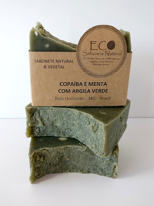SABONETE DE COPAÍBA E MENTA COM ARGILA VERDE - 125G