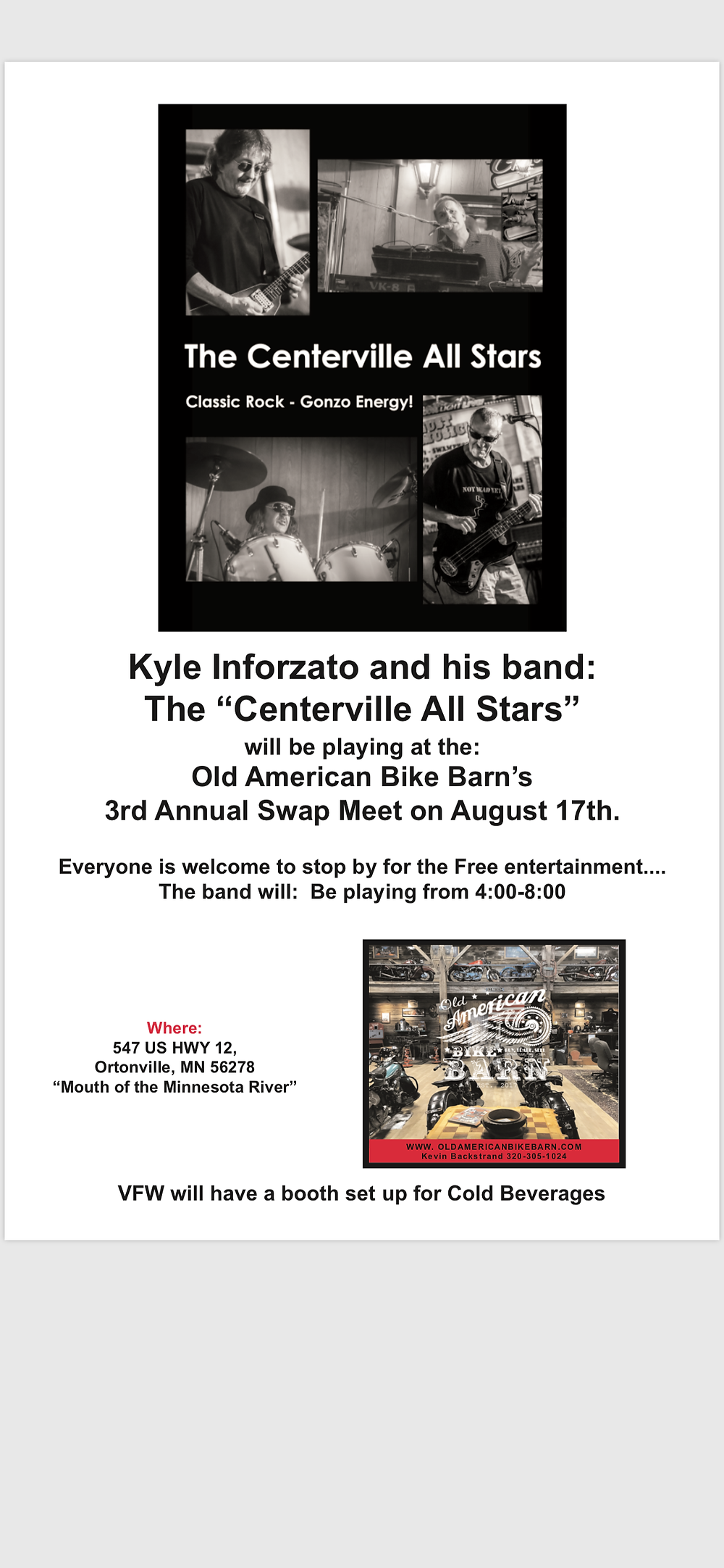 Stop by and watch Kyle Inforzato and The Centerville All Stars perform at the Old Amerian Bike Barn's 3rd Annual Swap Meet!