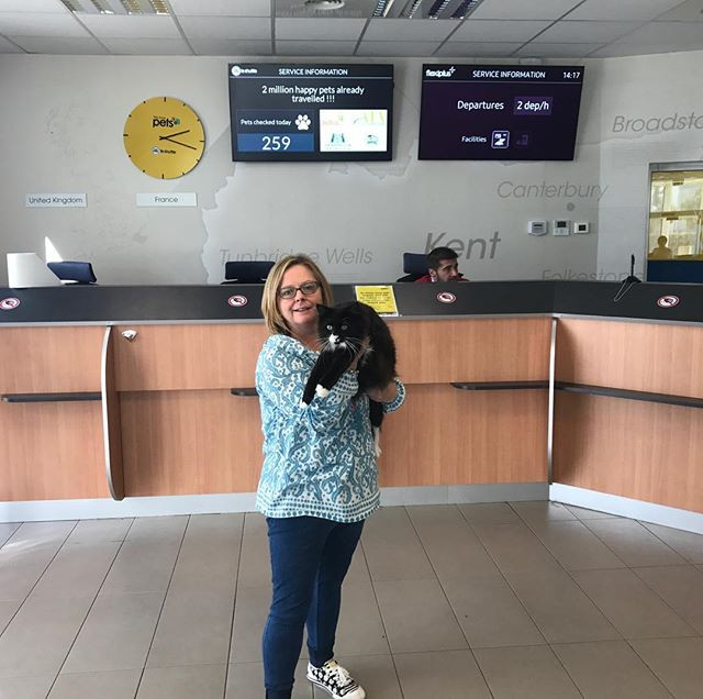 Sweetie was the 260th pet of the day to pass through Calias Pet Passport Control. Here she is with Ali of Norskwood.
