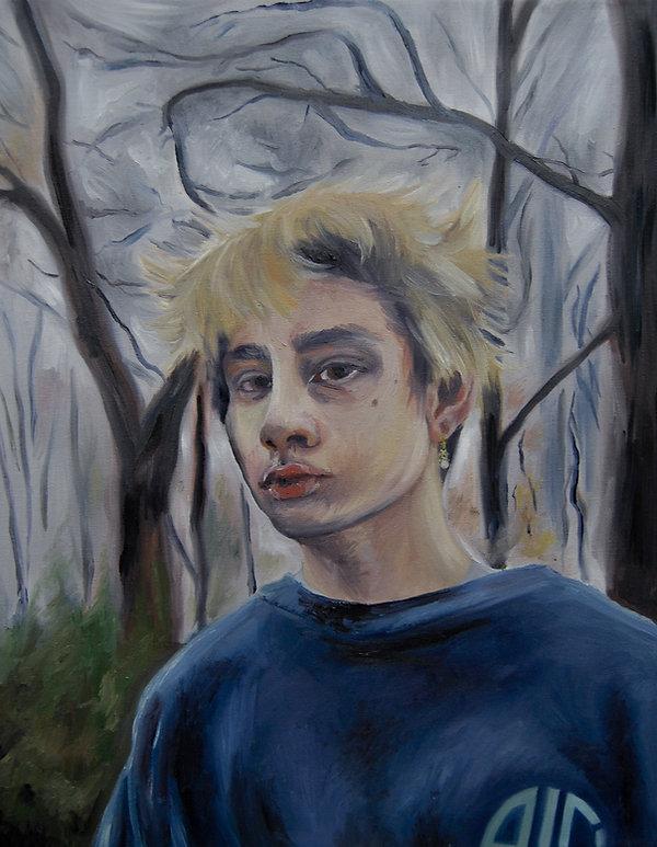 Oil Painting of Boy in Fog