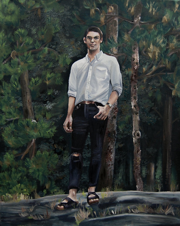 Oil Painting of Man in Central Park