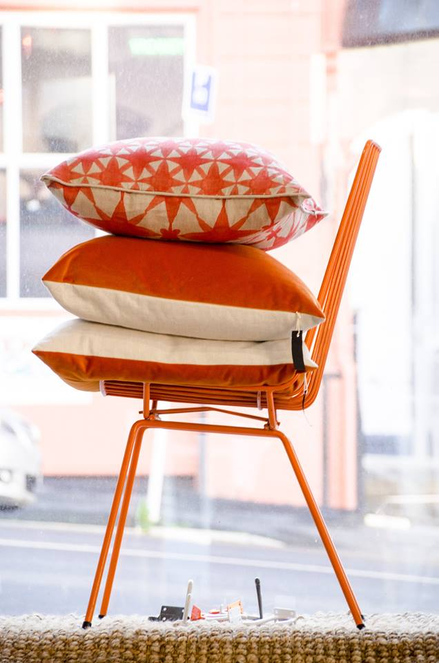 orange wire chair velvet linen