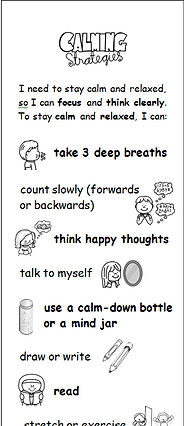Bookmark with coping strategies for feelings
