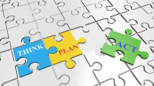 Puzzle with Think, Plan, Act (Pixabay pl