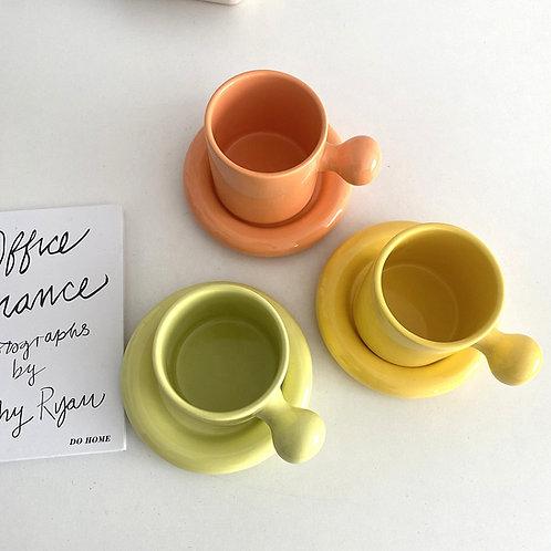 Ceramic Handle Mug & Saucer Set