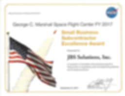 MSFC – Subcontractor – Excellence – Award - Certificate