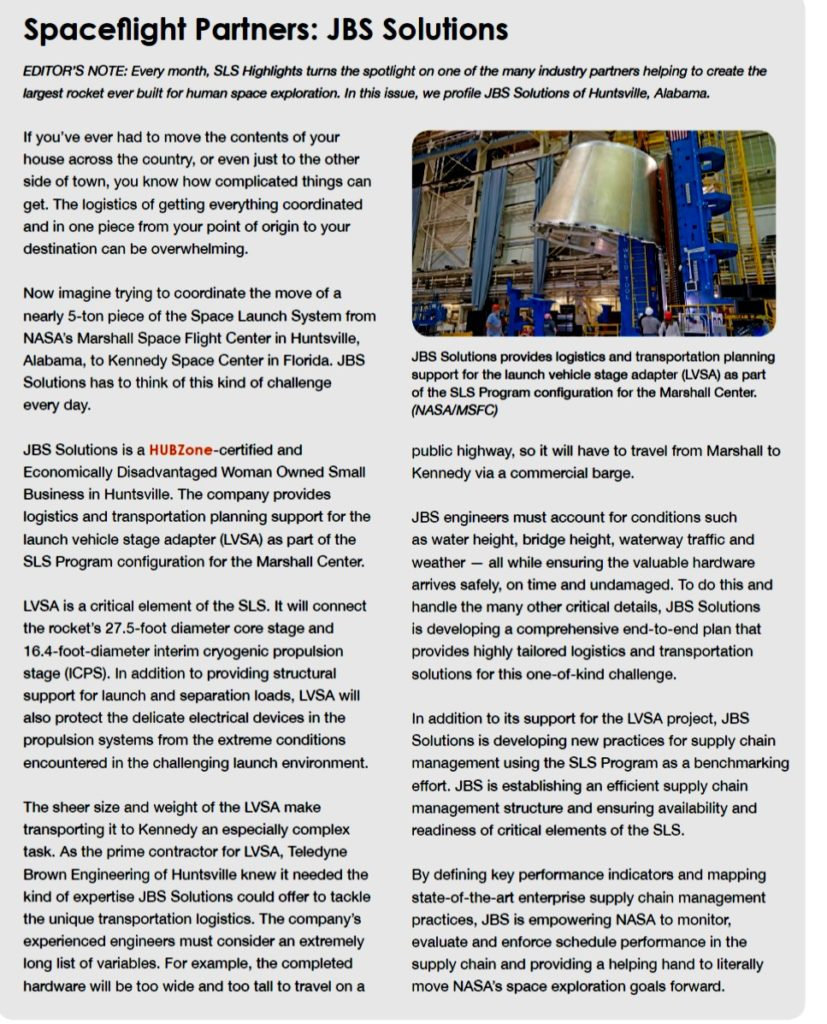 artical from the space launch system