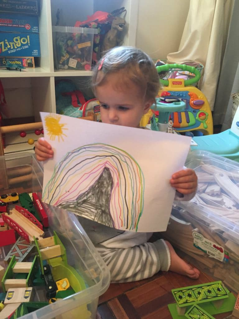 Josephine with a drawing by her brother, to thank all the beautiful people who have donated to help his little sister.
