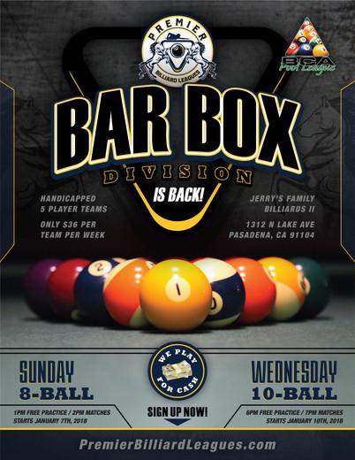 Bar Box Divisions Returning to Pasadena!