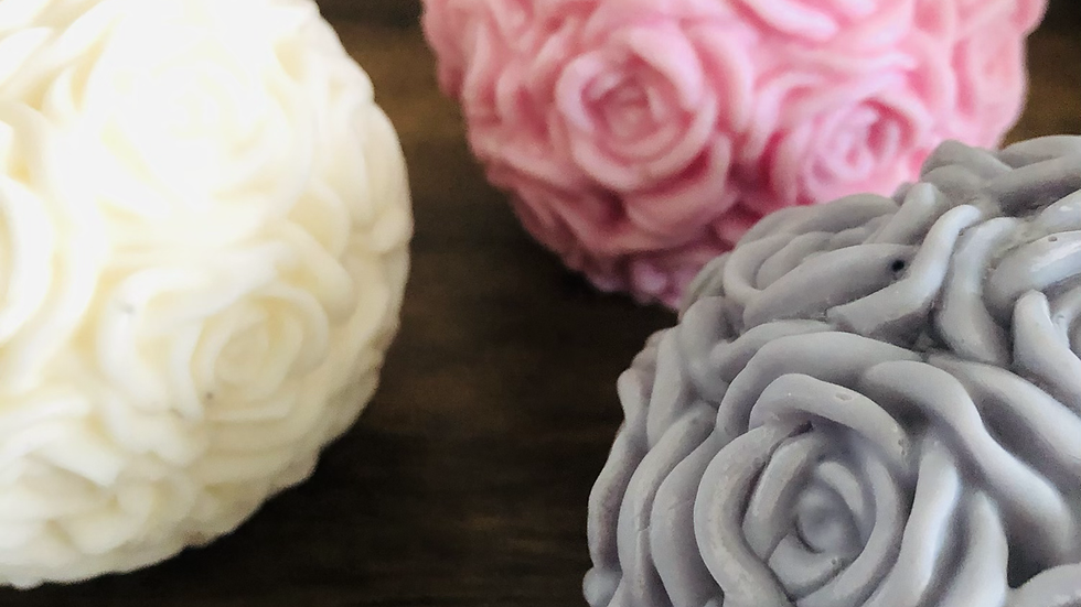 Large Rose Ball Bouquet Soy Wax Candle