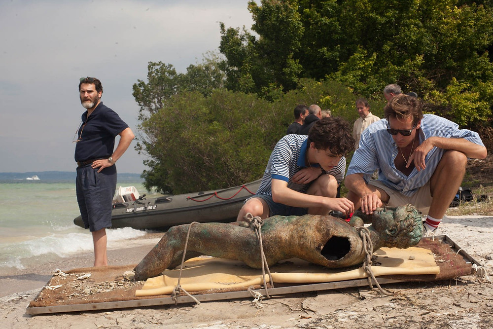 "Michael Stuhlbarg, Timothee Chalamet, and Armie Hammer in ""Call Me by Your Name"""