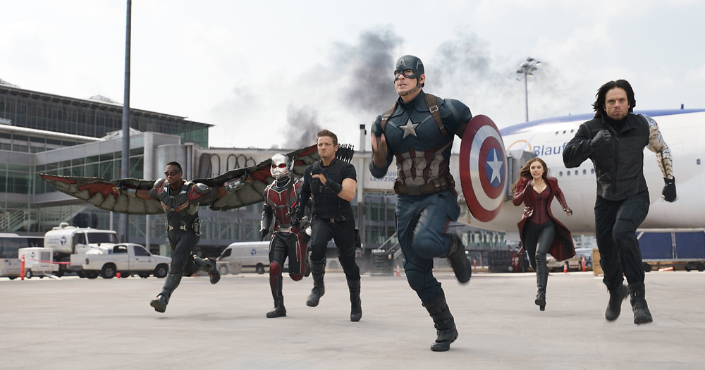 "Captain America (Chris Evans) and his allies rush into battle in ""Captain America: Civil War"""