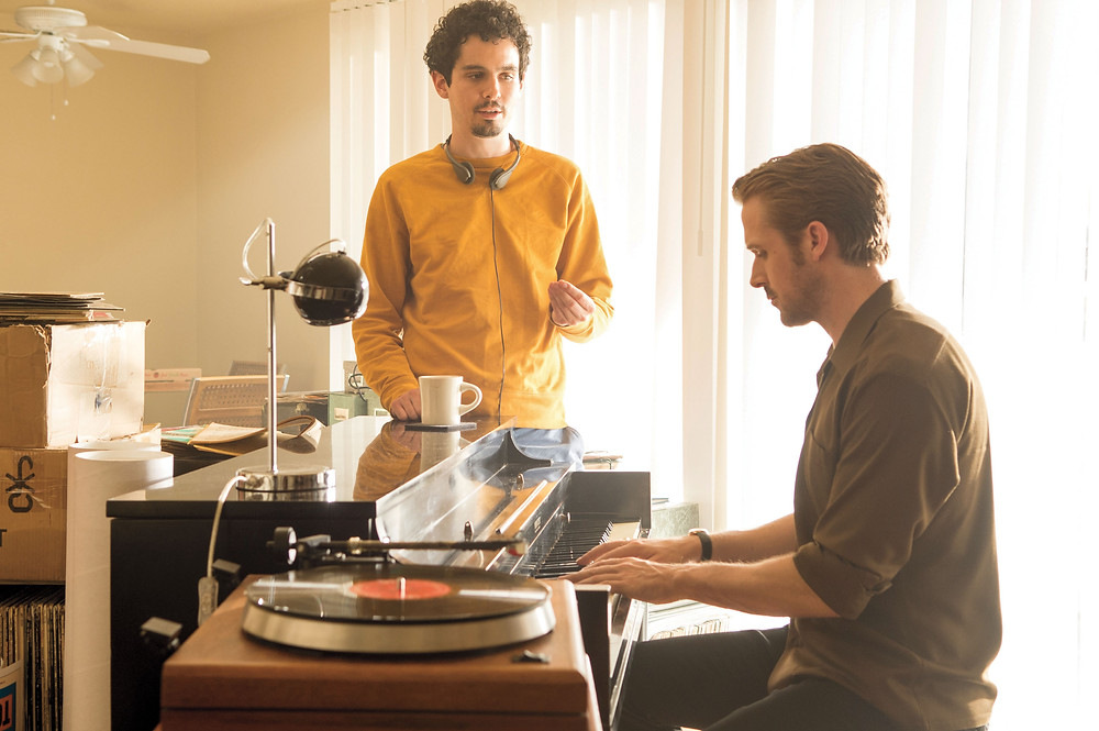 "Damien Chazelle directing Ryan Gosling on the set of ""La La Land"""
