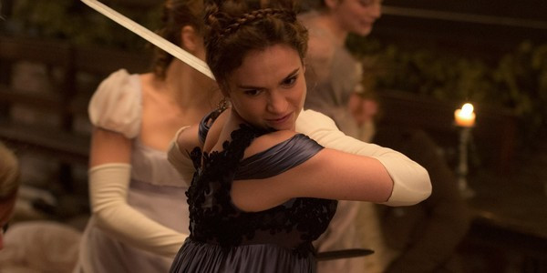 "Elizabeth Bennet (Lily James) shows off her zombie-fighting skills in ""Pride and Prejudice and Zombies"""