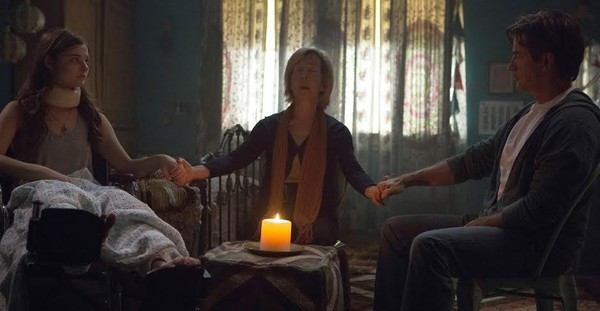 "Stephanie Scott, Lin Shaye, and Dermot Mulroney in ""Insidious: Chapter 3"""