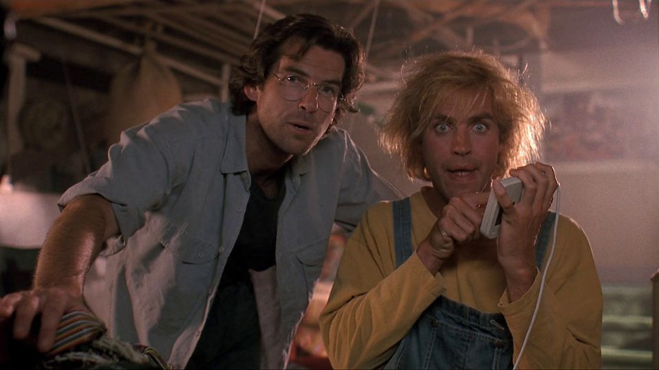 "Pierce Brosnan and Jeff Fahey in ""The Lawnmower Man"""