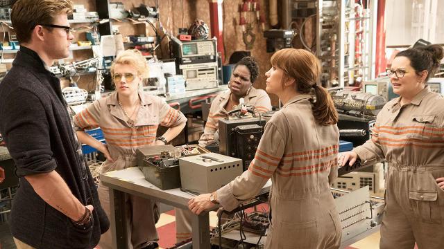 "Chris Hemsworth, Kate McKinnon, Leslie Jones, Kristen Wiig, and Melissa McCarthy in ""Ghostbusters"""