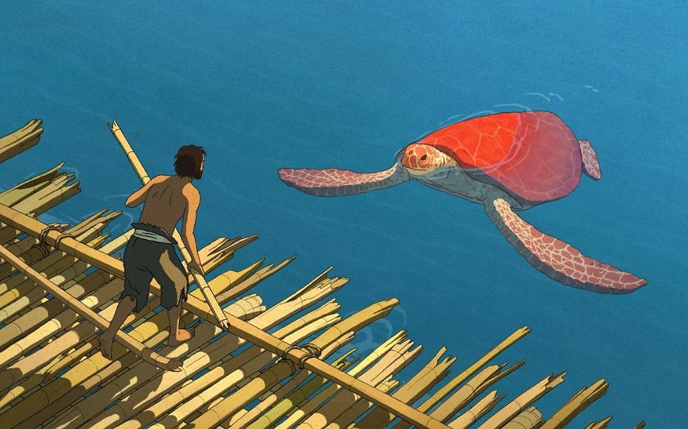 "A castaway discovers the reason his rafts haven't been making it very far in ""The Red Turtle"""