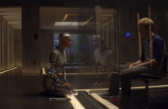 "Alicia Vikander and Domhnall Gleeson in ""Ex Machina"""