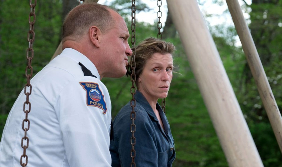 "Woody Harrelson and Frances McDormand in ""Three Billboards outside Ebbing, Missouri"""