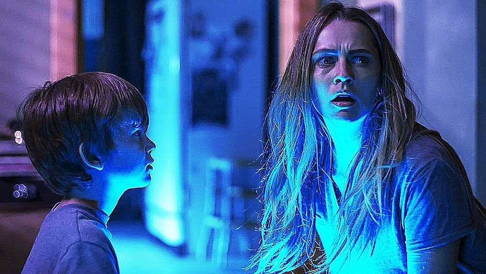 "Gabriel Bateman and Teresa Palmer in ""Lights Out"""
