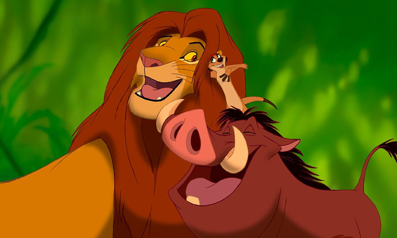 "Simba, Timon, and Pumbaa in ""The Lion King"""