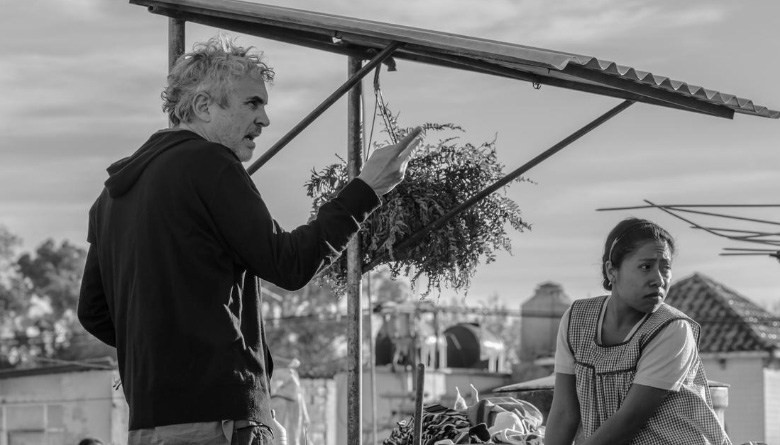 "Alfonso Cuaron on the set of ""Roma"""