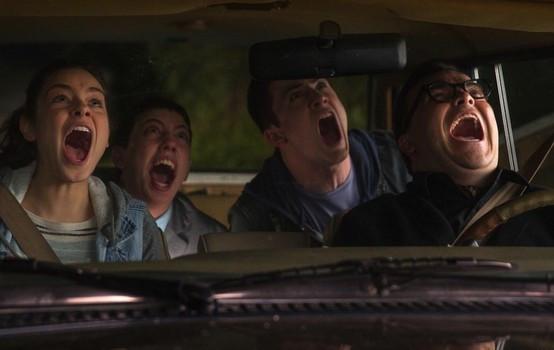 "Odeya Rush, Ryan Lee, Dylan Minnette, and Jack Black in ""Goosebumps"""