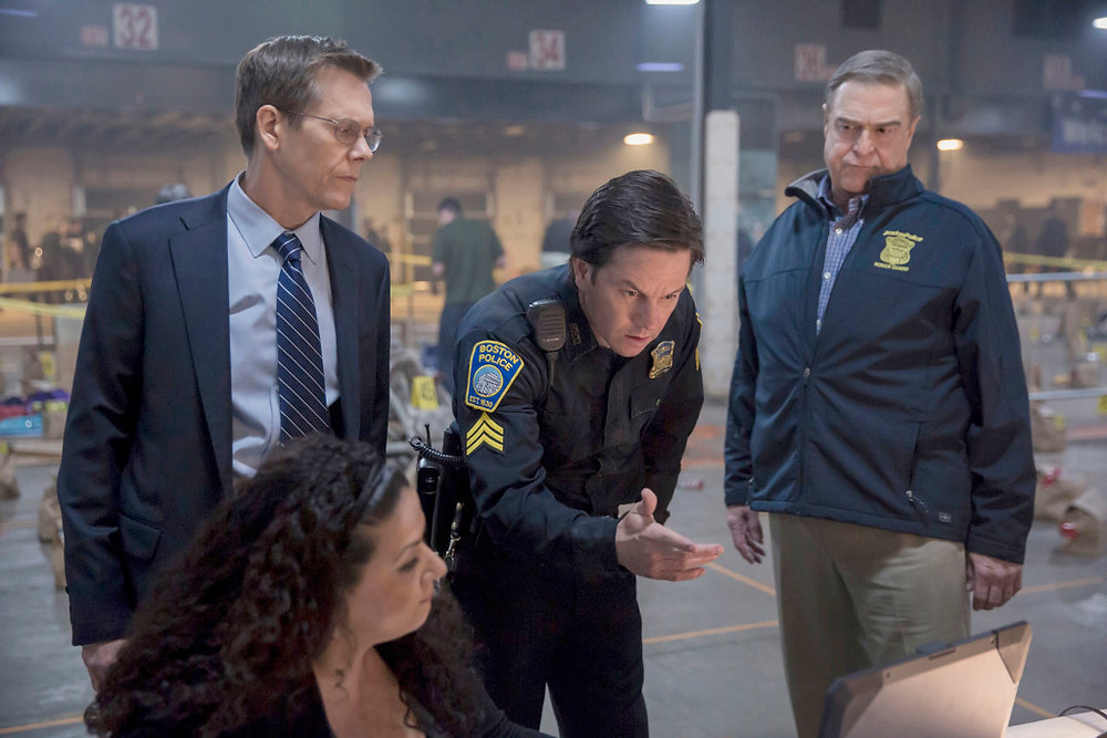 "Kevin Bacon, Mark Wahlberg, and John Goodman in ""Patriots Day"""