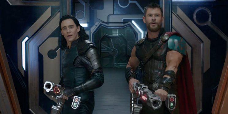 "Tom Hiddleston and Chris Hemsworth in ""Thor: Ragnarok"""