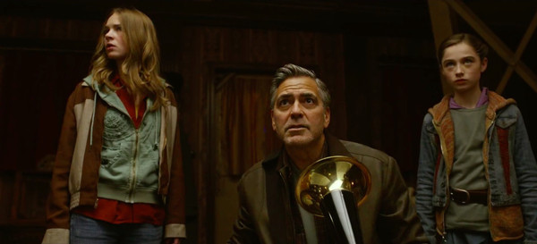 "Britt Robertson, George Clooney, and Raffey Cassidy in ""Tomorrowland"""