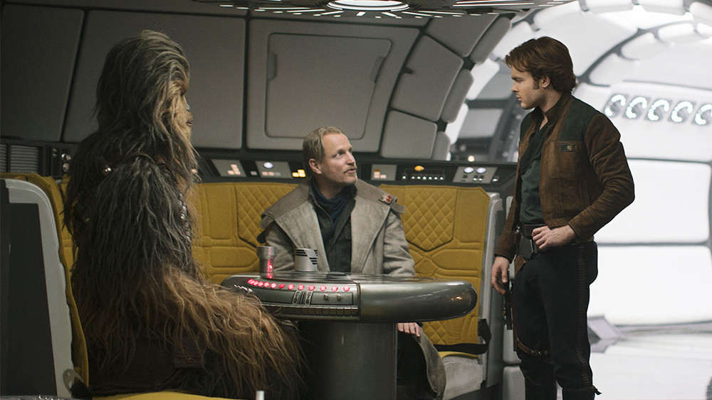 "Joonas Suotamo, Woody Harrelson, and Alden Ehrenreich in ""Solo: A Star Wars Story"""