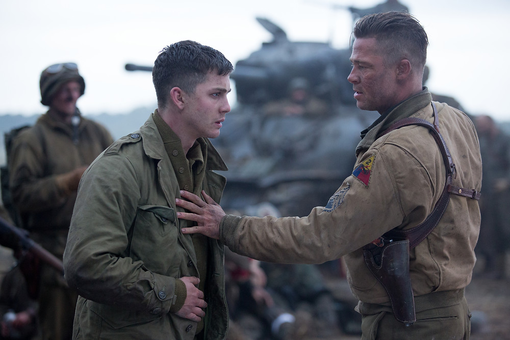 "Logan Lerman and Brad Pitt in ""Fury"""