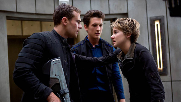 "Theo James, Miles Teller, and Shailene Woodley in ""Insurgent"""
