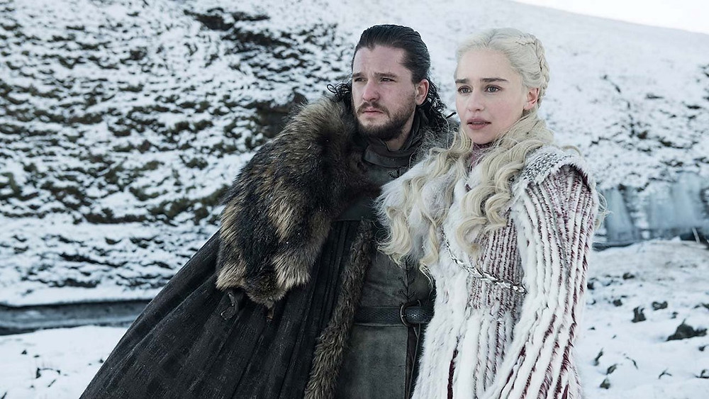 "Emmy nominees Kit Harington and Emilia Clarke in ""Game of Thrones"""