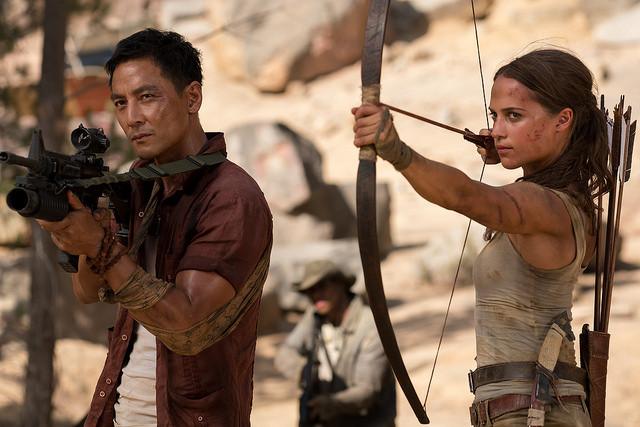 """Danny Wu and Alicia Vikander in """"Tomb Raider"""""""
