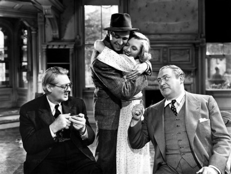 "Lionel Barrymore, Jimmy Stewart, Jean Arthur, and Edward Arnold in ""You Can't Take It With You"""