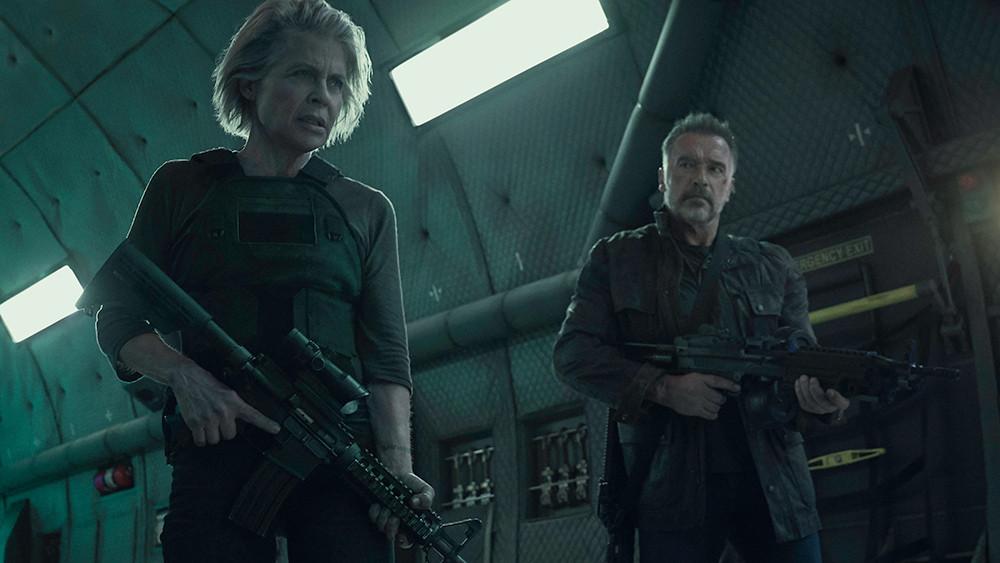 "Linda Hamilton and Arnold Schwarzenegger in ""Terminator: Dark Fate"""