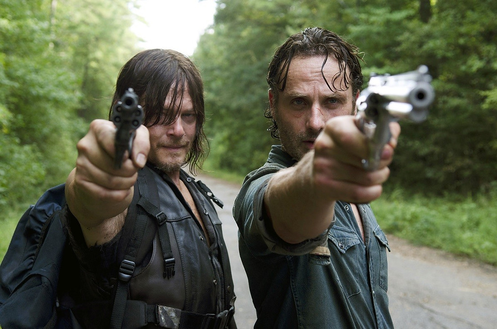 "Norman Reedus and Andrew Lincoln in the sixth season of ""The Walking Dead"""