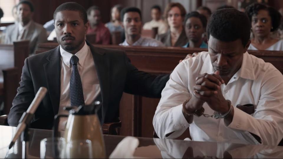 "Michael B. Jordan and Jamie Foxx in ""Just Mercy"""