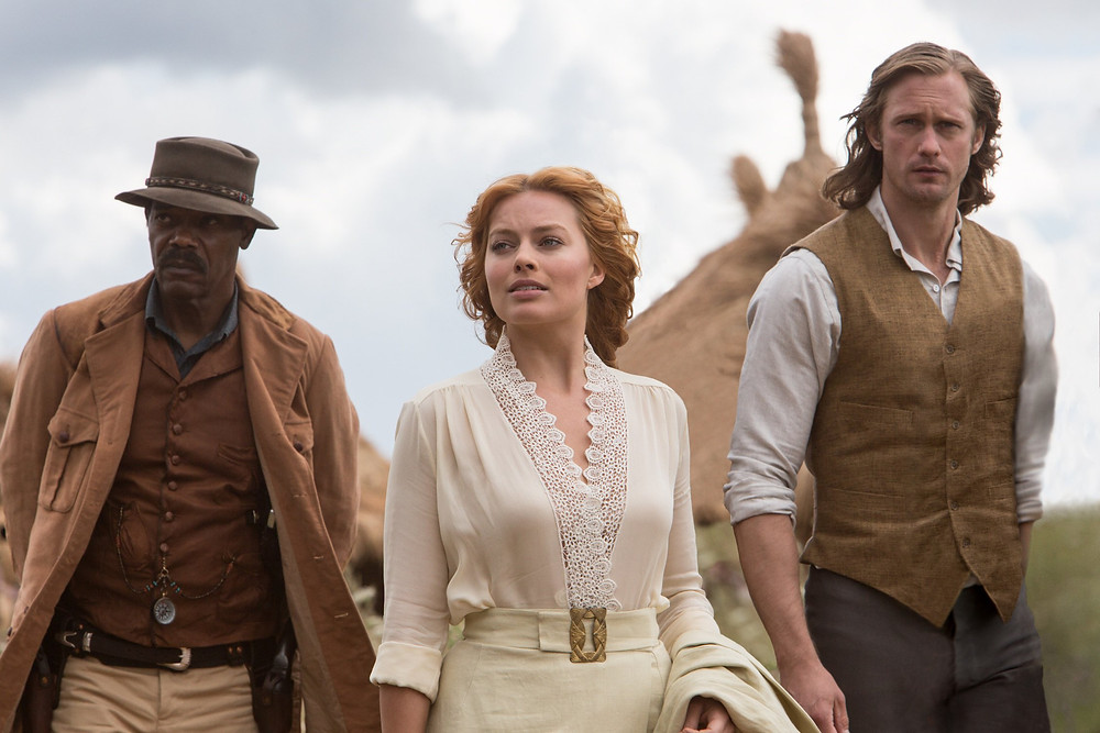 "Samuel L. Jackson, Margot Robbie, and Alexander Skarsgard in ""The Legend of Tarzan"""