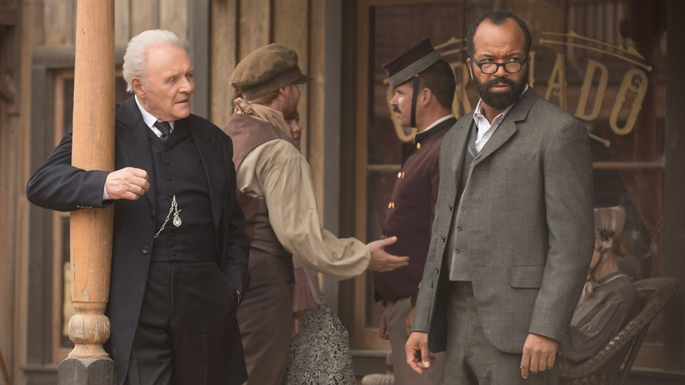 "Anthony Hopkins and Jeffrey Wright in ""Westworld"""