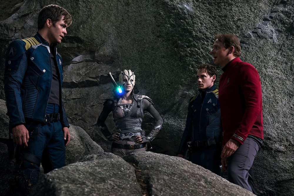 "Chris Pine, Sofia Boutella, Anton Yelchin, and Simon Pegg in ""Star Trek Beyond"""