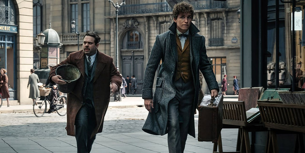 "Dan Fogler and Eddie Redmayne in ""Fantastic Beasts: The Crimes of Grindelwald"""
