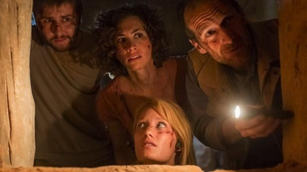 "A pair of archaeologists and their companions search desperately for escape from ""The Pyramid"""