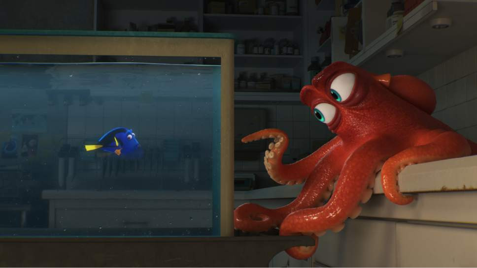 "Dory (Voice of Ellen DeGeneres) and Hank (Voice of Ed O'Neill) in ""Finding Dory"""