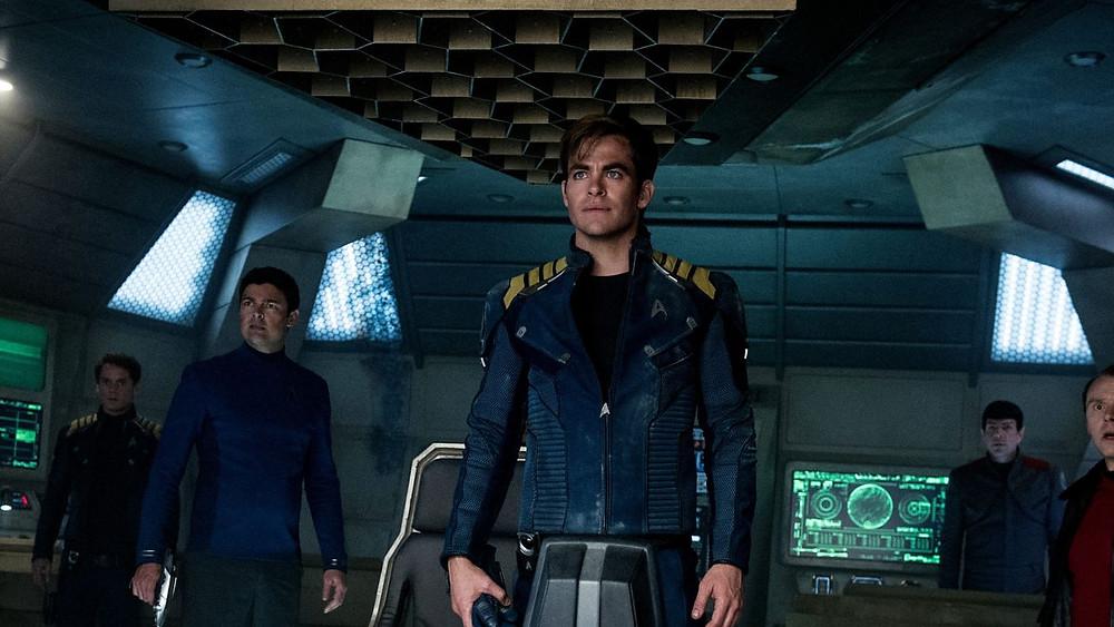"Anton Yelchin, Karl Urban, Chris Pine, Zachary Quinto, and Simon Pegg in ""Star Trek Beyond"""